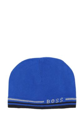'J21108' | Knit Cotton-Wool Blend Hat, Blue