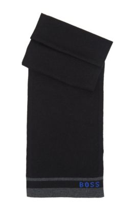 'J21109' | Knit Cotton-Wool Blend Scarf, Black