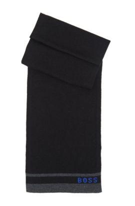 'J21109' | Knit Cotton-Wool Blend Scarf, Black