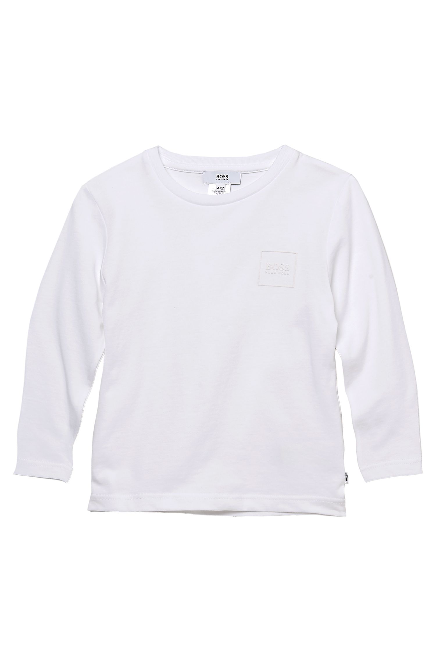 'J25541' | Boys Long-Sleeved Cotton Crewneck Logo T-Shirt