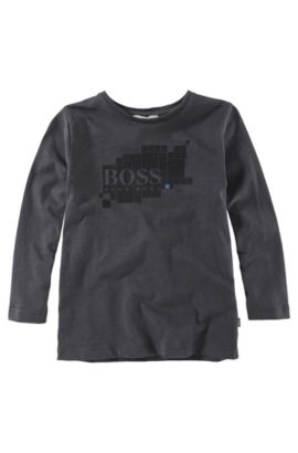 'J25543' | Boys Long-Sleeved Cotton Graphic Crewneck Graphic T-Shirt, Black
