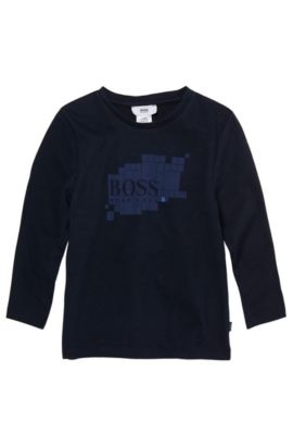 'J25543' | Boys Long-Sleeved Cotton Graphic Crewneck Graphic T-Shirt, Dark Blue