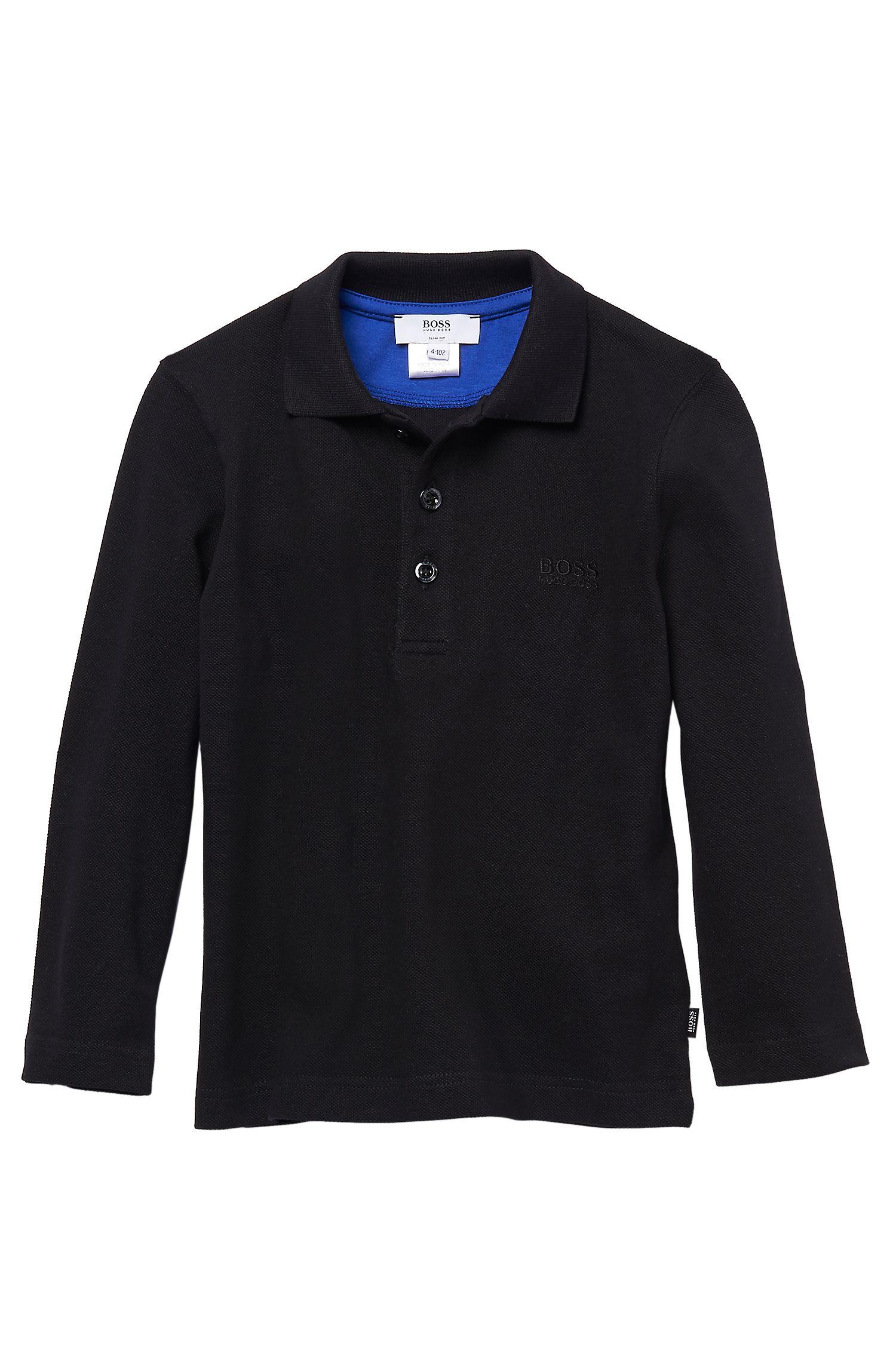 'J25545'   Boys Long-Sleeved Cotton Polo Shirt