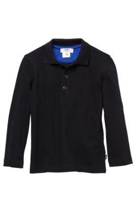 'J25545'   Boys Long-Sleeved Cotton Polo Shirt, Black