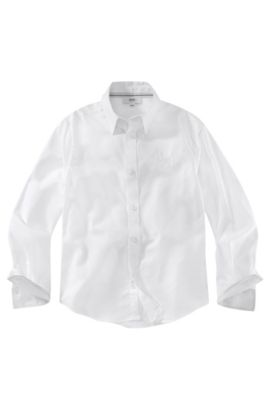 'J25547' | Boys Cotton Button Down Dress Shirt, White