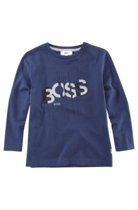 'J25581' | Boys Long-Sleeved Cotton Crewneck Graphic T-Shirt, Dark Blue