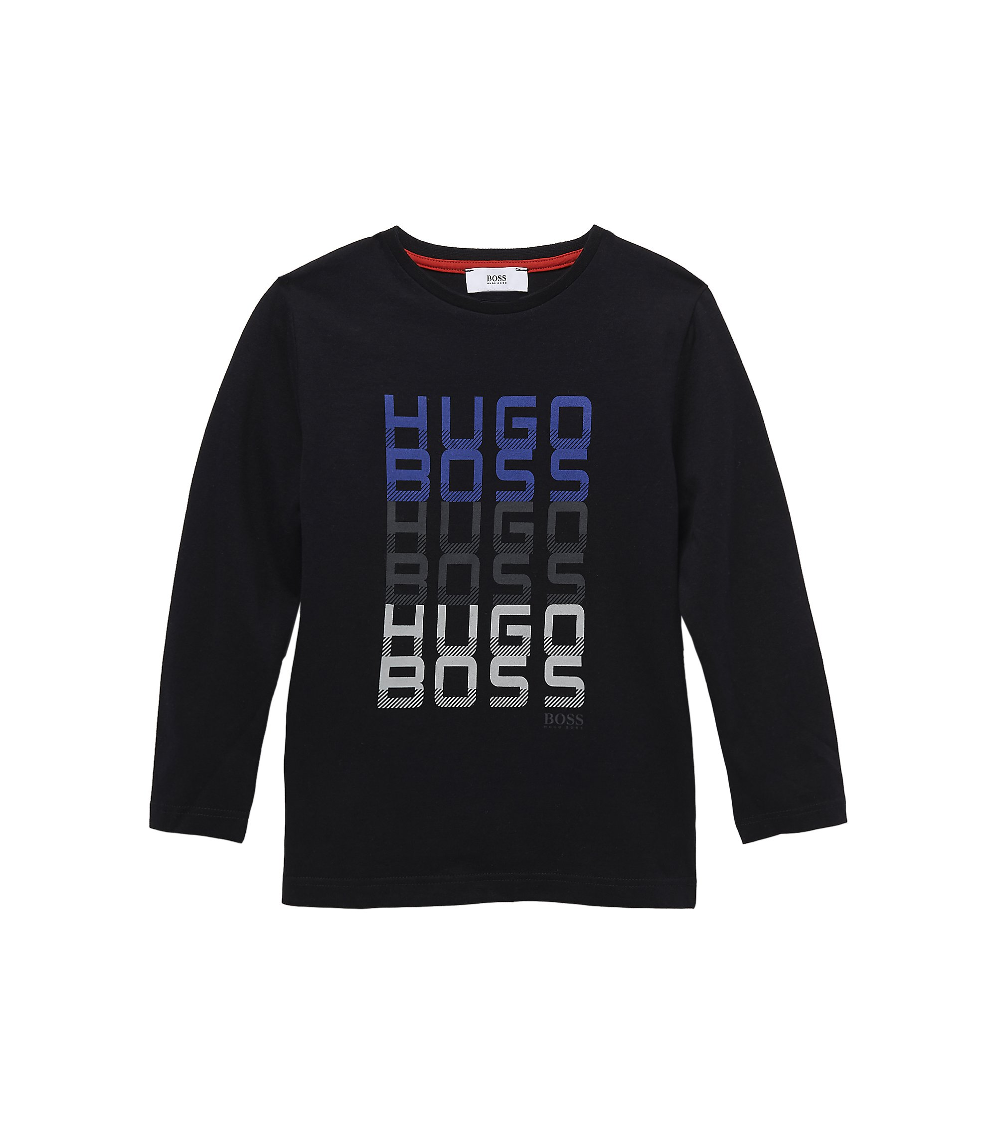 'J25589' | Boys Long-Sleeved Cotton Crewneck Graphic T-Shirt, Black