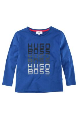 'J25589' | Boys Long-Sleeved Cotton Crewneck Graphic T-Shirt, Blue