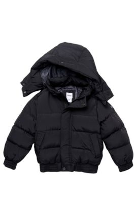 'J26167' | Boys Polyester-Blend Quilted Jacket with Detachable Hood, Black