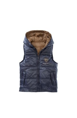 'J26168' | Boys Nylon Reversible Quilted Down Vest, Brown
