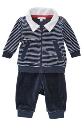 'J98082' | Infant Terry Velvet Activewear Set, Dark Blue