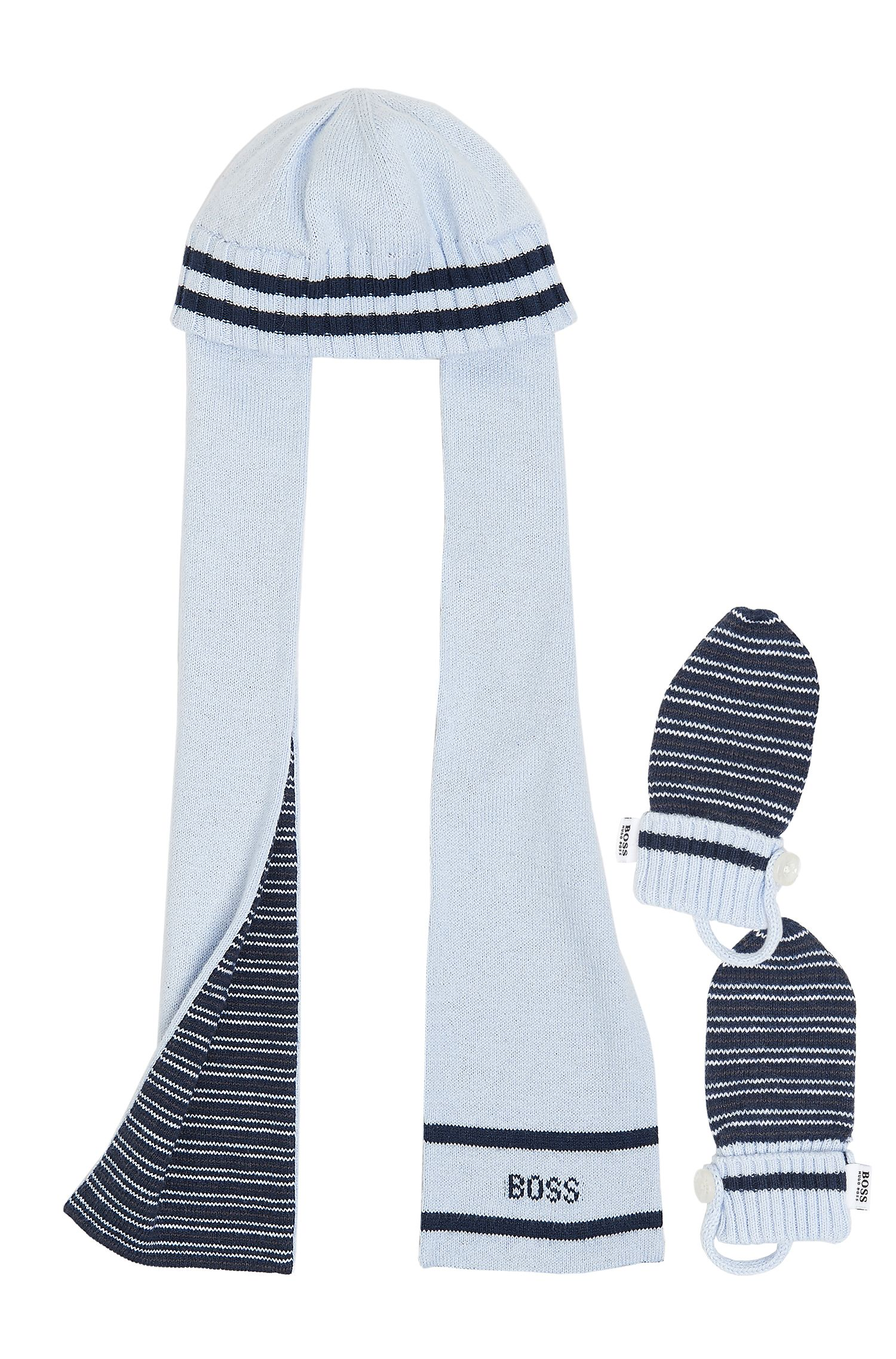 'J98088' | Infant Knit Cotton-Cashmere Hat-Scarf and Mittens Set