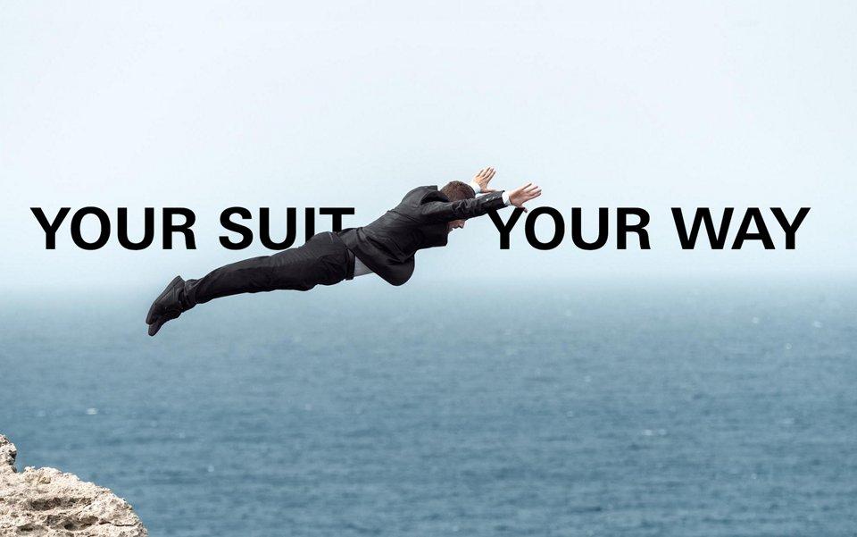 David Colturi cliff dives in BOSS suit