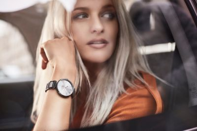 Victoria Magrath is wearing the new womens watch from BOSS