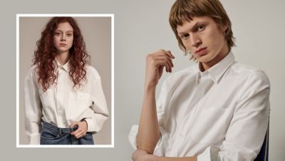 Female and male models wearing a white shirt from HUGO Unisex Capsule