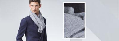 Dunkelblauer Anzug mit grauem Schal von BOSS