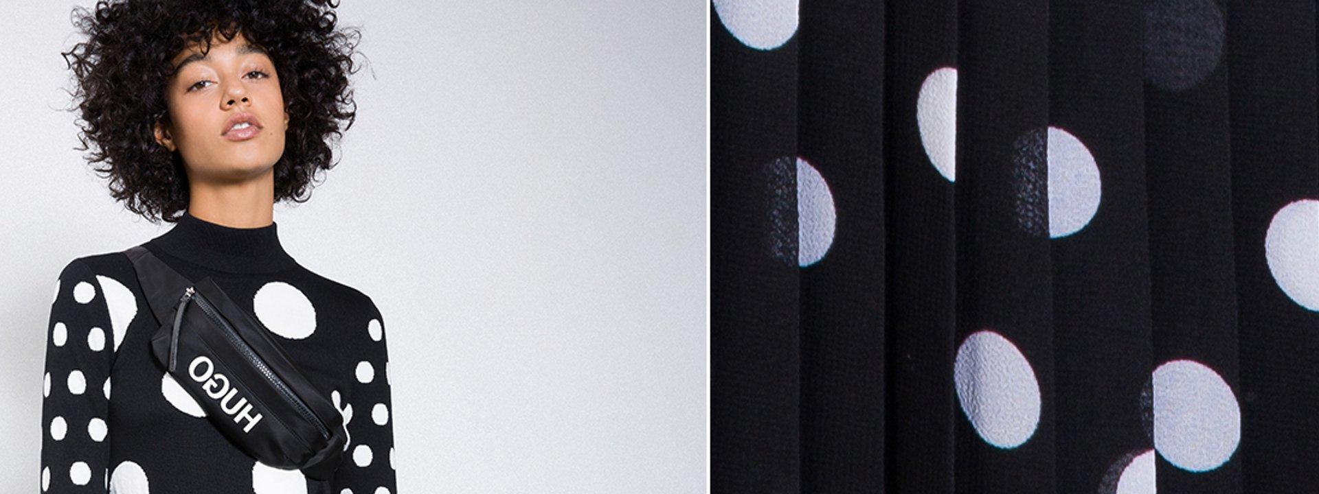 c3e5ec8a15fa Female model wearing a black shirt with dots and a black skirt with dots by  HUGO ...
