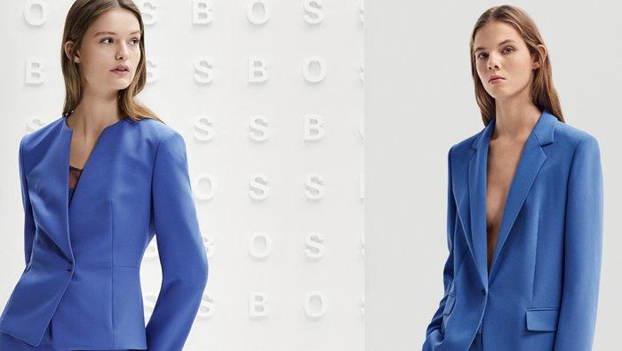 Look pour femme composé d'un tailleur pantalon bleu habillé, signé BOSS