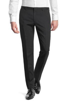 Slim-fit business trousers 'Heise' in new wool, Black