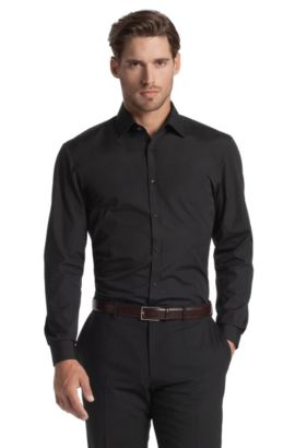 Slim fit business shirt with a Windsor collar 'E, Black