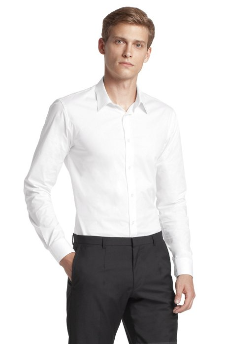 Slim fit blended cotton business shirt 'Elisha', Open White