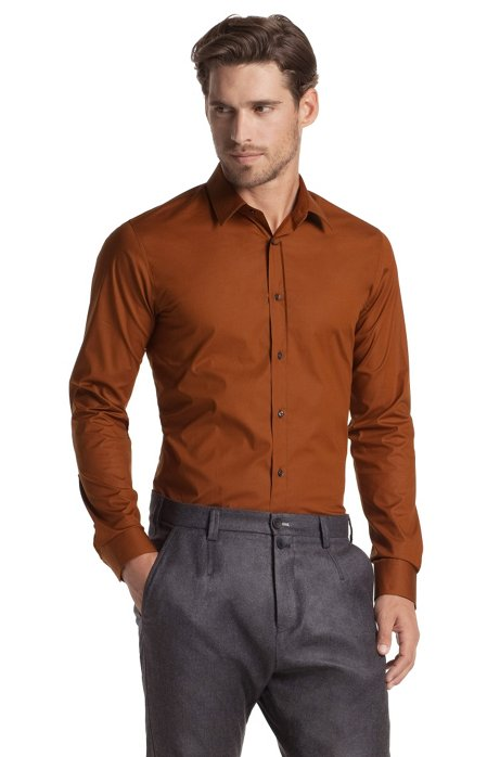 Slim fit blended cotton business shirt 'Elisha', Brown