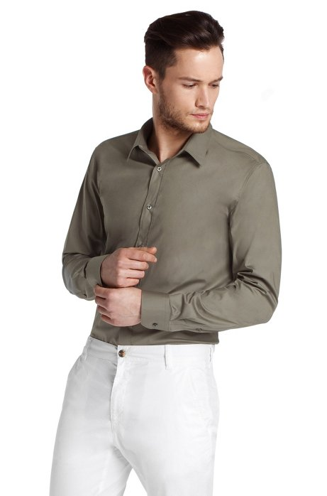 Slim fit blended cotton business shirt 'Elisha', Khaki