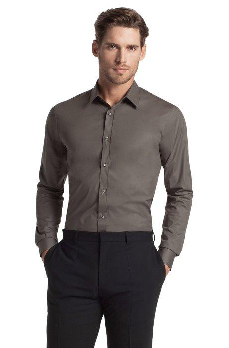 Slim fit blended cotton business shirt 'Elisha', Open Green