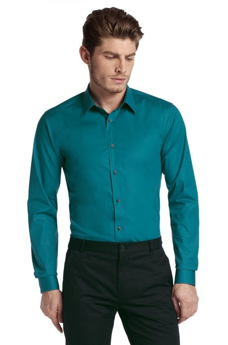 Slim fit blended cotton business shirt 'Elisha', Open Green