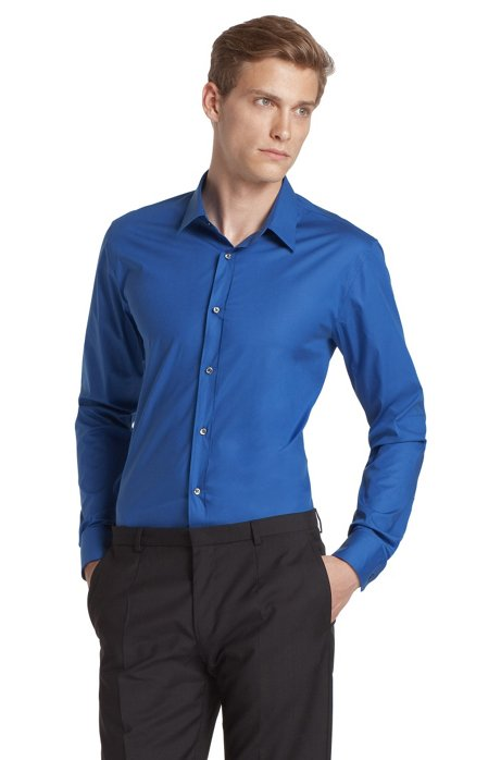 Slim fit blended cotton business shirt 'Elisha', Blue