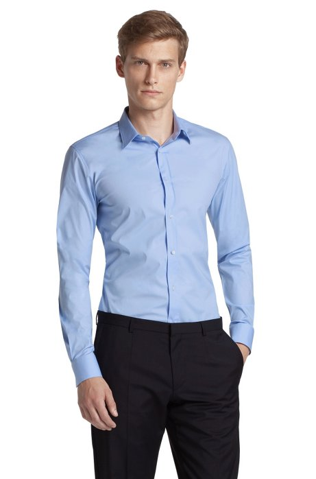 Slim fit blended cotton business shirt 'Elisha', Light Blue