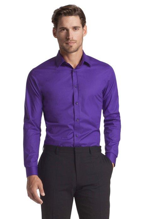 Slim fit blended cotton business shirt 'Elisha', Purple