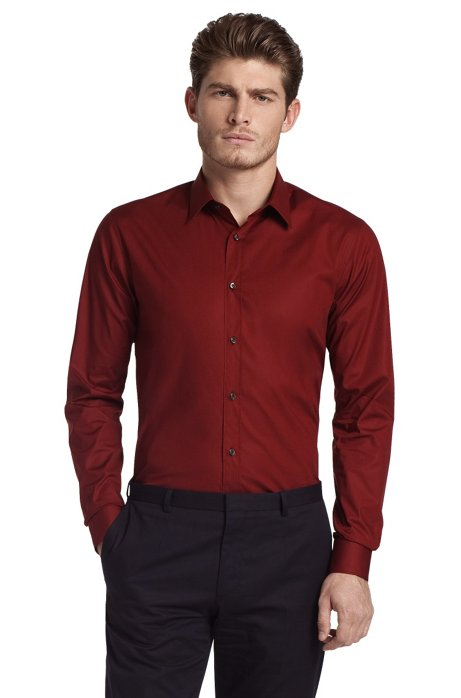 Slim fit blended cotton business shirt 'Elisha', Dark Red
