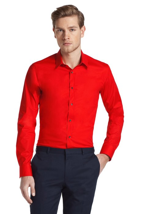 Slim fit blended cotton business shirt 'Elisha', Red
