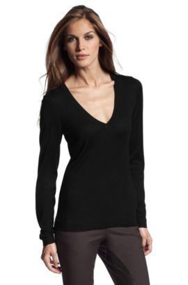 Feinstrick-Pullover ´F3441` aus Seiden-Mix, Schwarz
