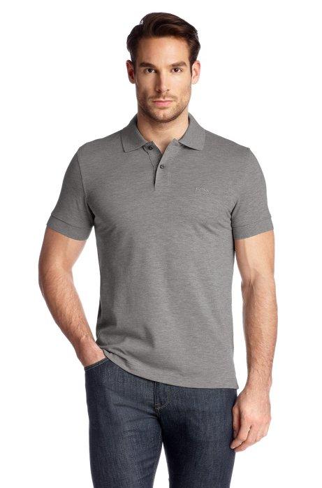 Regular-fit polo shirt in cotton piqué, Grey