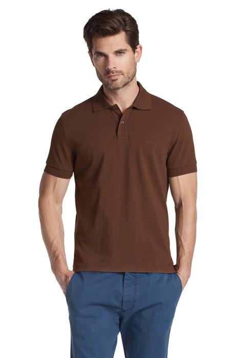 Regular-fit polo shirt in cotton piqué, Dark Brown