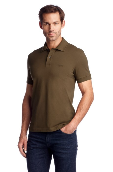 Regular-fit polo shirt in cotton piqué, Brown