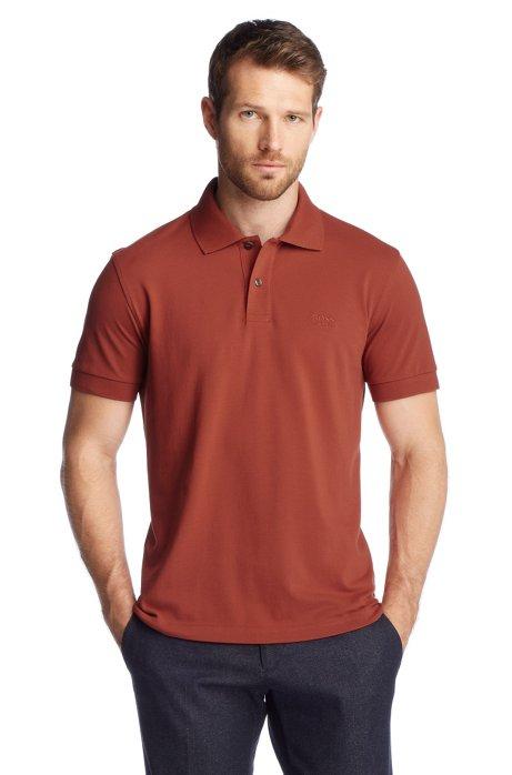 Regular-fit polo shirt in cotton piqué, Brown