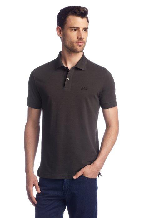 Regular-fit polo shirt in cotton piqué, Open brown