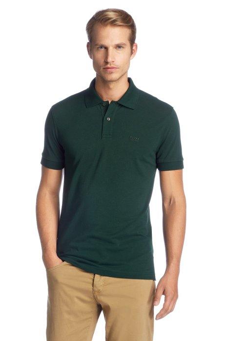 Regular-fit polo shirt in cotton piqué, Dark Green