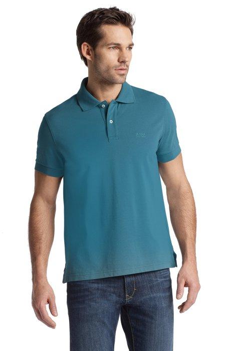 Regular-fit polo shirt in cotton piqué, Open Green