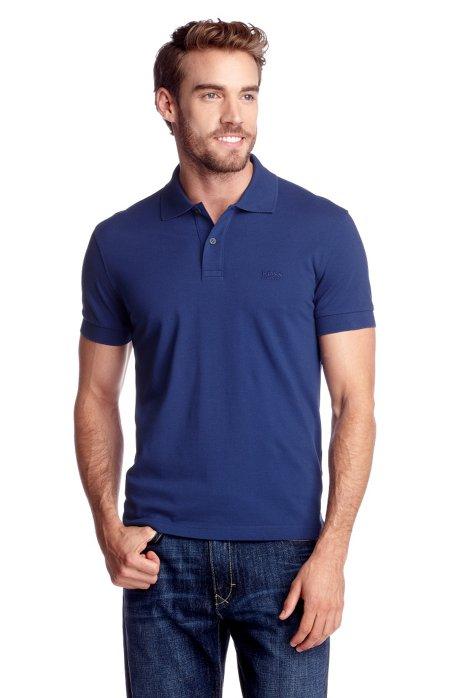 Regular-fit polo shirt in cotton piqué, Blue
