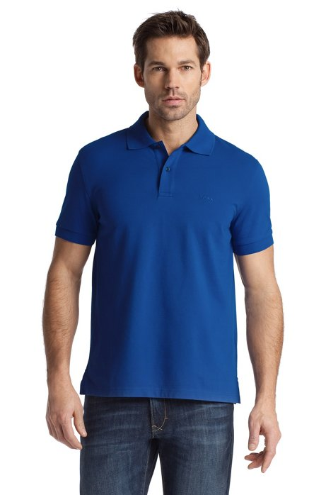 Regular-fit polo shirt in cotton piqué, Blue
