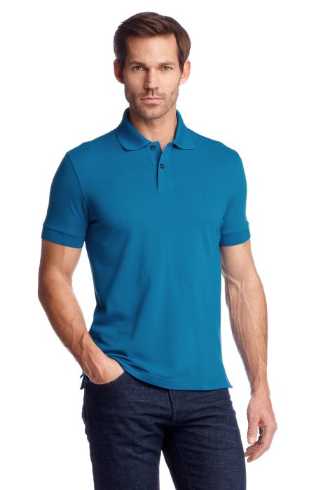 Regular-fit polo shirt in cotton piqué, Turquoise