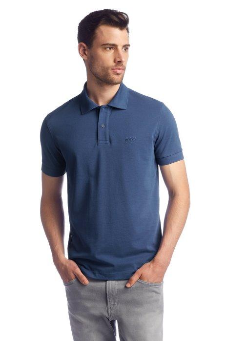 Regular-fit polo shirt in cotton piqué, Light Blue
