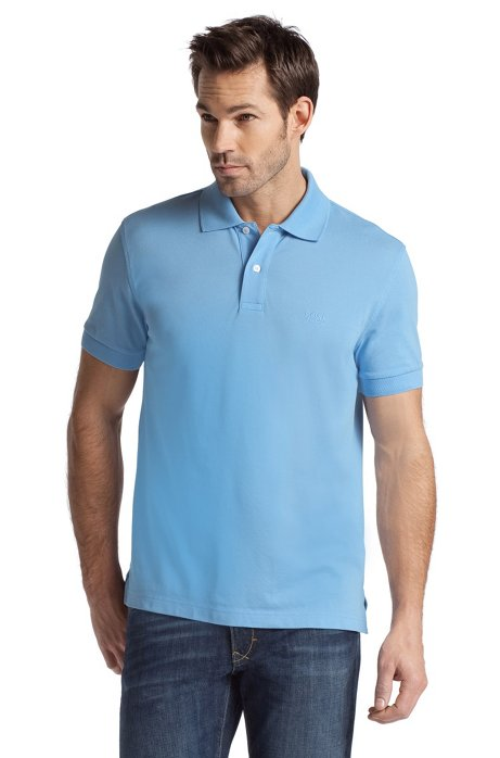Regular-fit polo shirt in cotton piqué, Open Blue