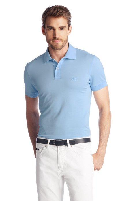 Regular-fit polo shirt in cotton piqué, Open Blue