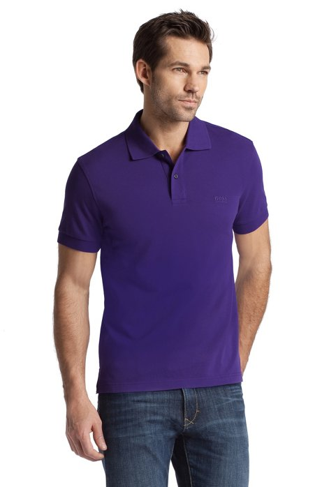 Regular-fit polo shirt in cotton piqué, Purple