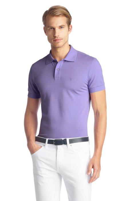Regular-fit polo shirt in cotton piqué, Light Purple